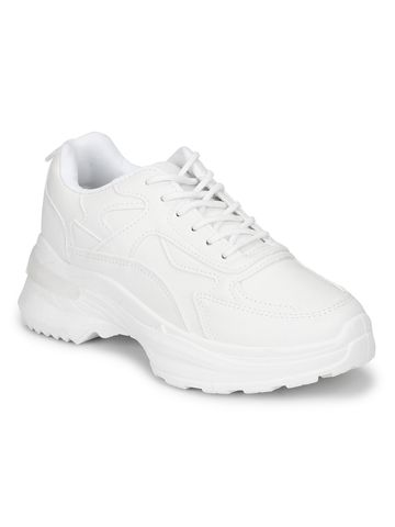 Truffle Collection | White PU Cleated Bottom Lace-Up Chunky Sneakers