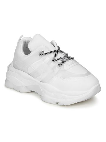 Truffle Collection | White PU Lace-Up Chunky Sneakers