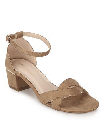 Truffle Collection | Beige Micro Low Heel Sandals