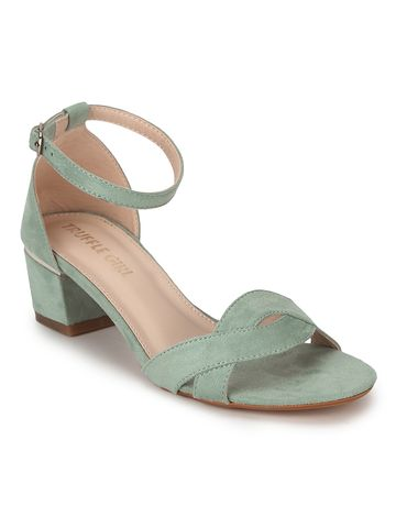 Truffle Collection | Sea Green Micro Low Heel Sandals