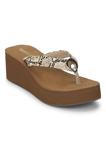 Truffle Collection | Beige PU Snake Pattern Slip On Wedges