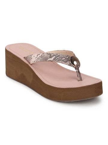 Truffle Collection | Pink PU Snake Pattern Slip On Wedges