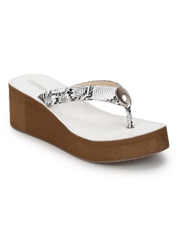 Truffle Collection | White PU Snake Pattern Slip On Wedges