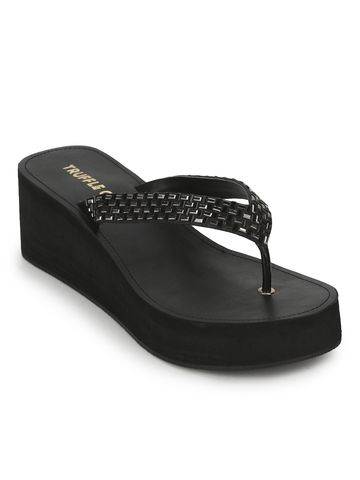 Truffle Collection   Black PU Shimmer Knitted Strap Slip On Wedges