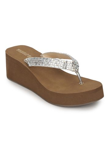Truffle Collection | Silver PU Shimmer Knitted Strap Slip On Wedges