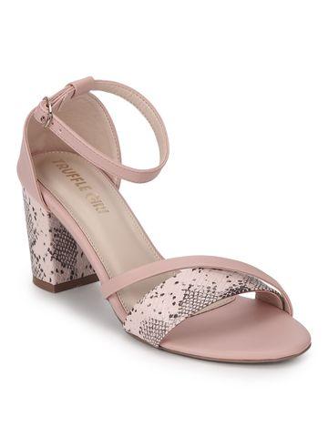 Truffle Collection | Pink PU Snake Pattern Block Heels