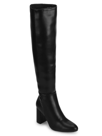 Truffle Collection | Black PU Block Heel Long Boots