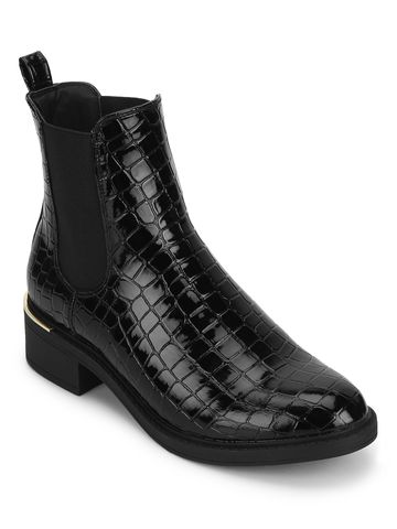 Truffle Collection | Black Croc Patent Low Heel Ankle Boot