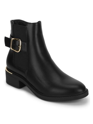 Truffle Collection | Black PU Low Heel Ankle Boots With Buckle