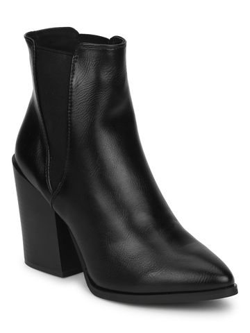 Truffle Collection | Black PU Slip On Ankle Boots