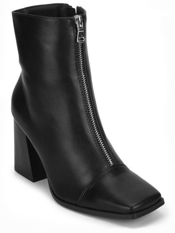 Truffle Collection | Black PU Front Zip Ankle Boots