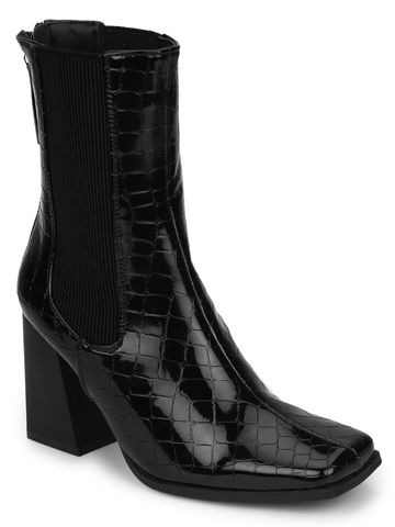 Truffle Collection | Black Croc Patent Back Zip Ankle Boots