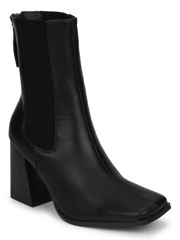 Truffle Collection | Black PU Back Zip Ankle Boots