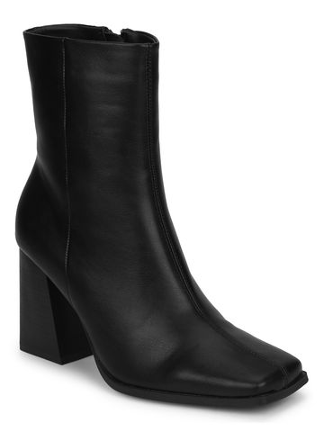 Truffle Collection | Black PU Side Zip Block Heel Ankle Boots