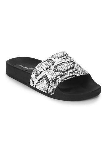 Truffle Collection | Black & White PU Snake Pattern Slides