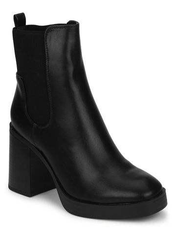 Truffle Collection | Black PU Slip On Block Heel Ankle Boots