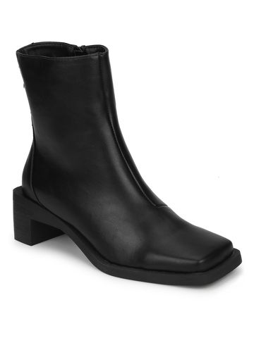 Truffle Collection | Black PU Square Toe Block Heel Ankle Boots