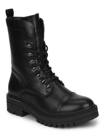 Truffle Collection | Black PU Combat Lace Up Ankle Boots