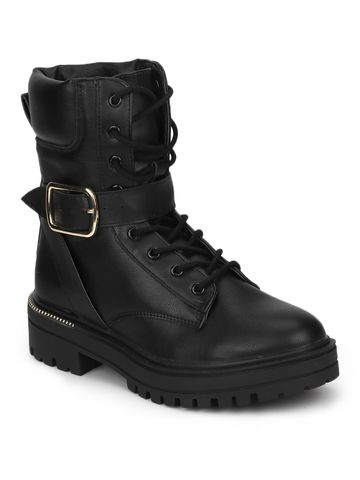 Truffle Collection | Black PU Combat Lace Up Ankle Boots With Buckle