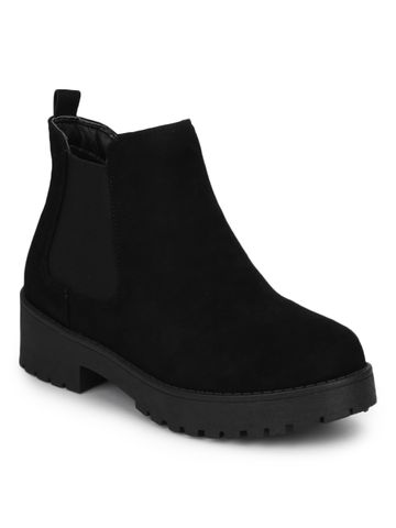 Truffle Collection | Black Micro Slip On Low Heel Ankle Boots