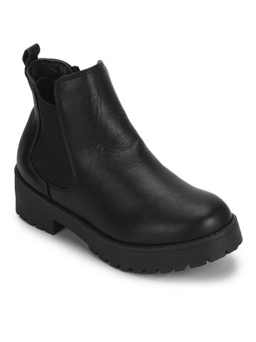 Truffle Collection | Black PU Slip On Low Heel Ankle Boots