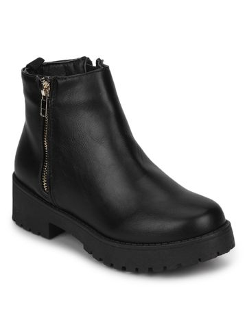 Truffle Collection | Black PU Gold Zip Low Heel Ankle Boots