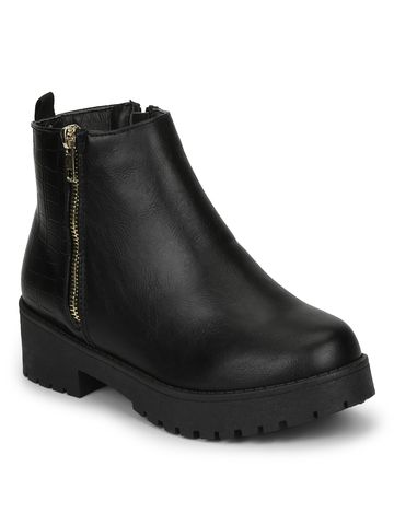 Truffle Collection | Black PU Gold Zip Low Block Heel Ankle Boots