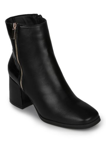 Truffle Collection | Black PU Gold Zip Block Heel Ankle Boots