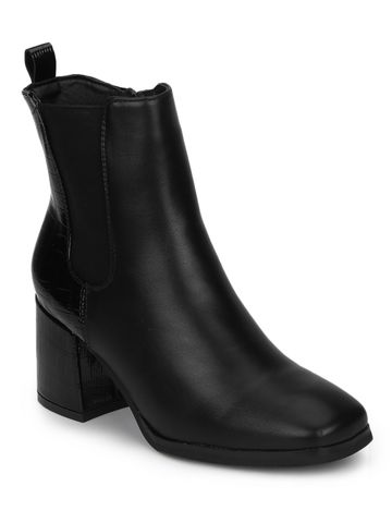 Truffle Collection | Black Croc PU Slip On Block Heel Ankle Boots