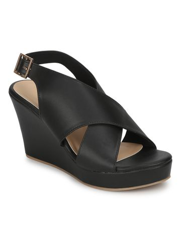 Truffle Collection | Black PU Wedges With Crossover Straps