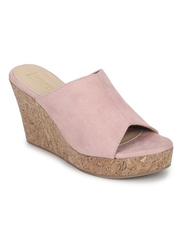 Truffle Collection   Pink Micro Peep Toe Slip On Wedges