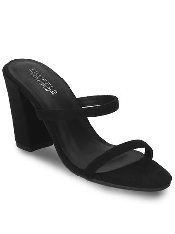 Truffle Collection | Black Micro Block Heel Slip On Mules