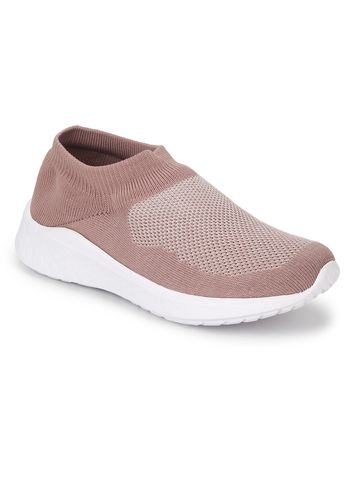 Truffle Collection   Peach Knitted Slip On Loafers