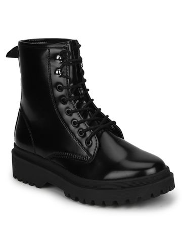 Truffle Collection | Black Shine PU Lace Up Ankle Boot