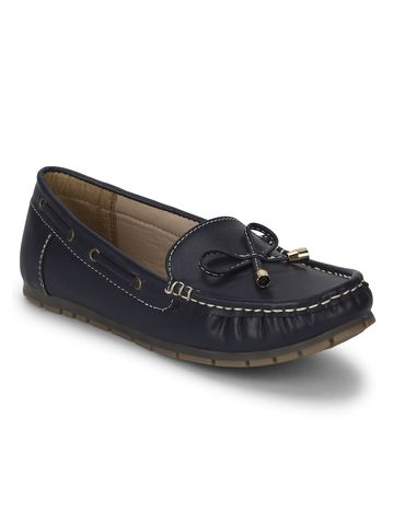 Truffle Collection | Navy Blue PU Loafers With Bow