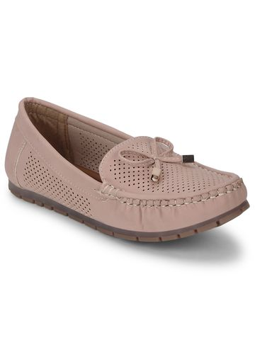 Truffle Collection | Nude PU Loafers With Bow