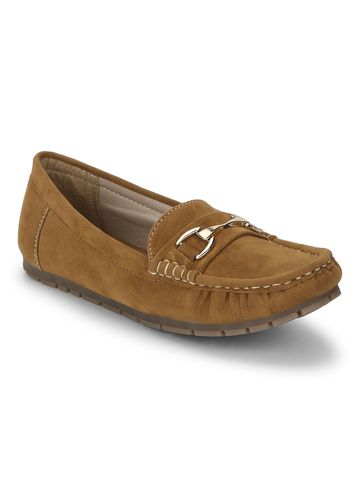 Truffle Collection | Tan Micro Loafers With Chain