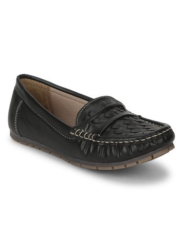 Truffle Collection | Black PU Loafers With Weaves