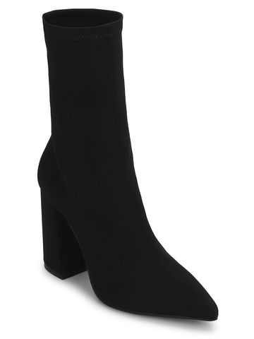 Truffle Collection | Black Lycra Sock Ankle Boots