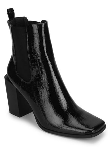 Truffle Collection | Black Croc Patent Slip On Ankle Boots
