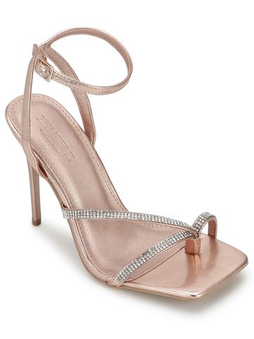 Truffle Collection | Rose Gold PU Diamante Stilettos With Slim Straps