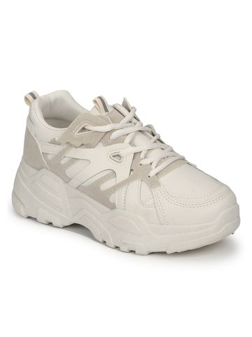 Truffle Collection | Beige PU Lace-Up Chunky Sneakers