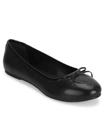 Truffle Collection   Black PU Bow Detail Ballerinas