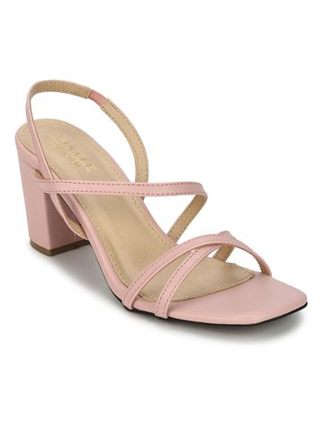 Truffle Collection | Nude PU Crossover Strap Block Heel Sandals