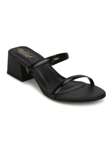 Truffle Collection | Black PU Slip On Low Heel Mules