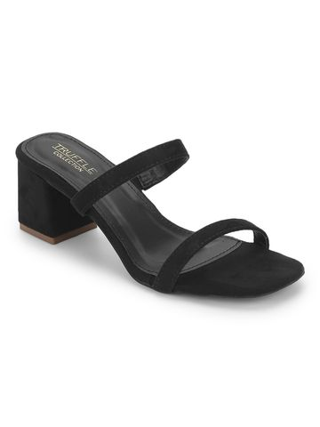 Truffle Collection | Black Micro Low Block Heel Mules