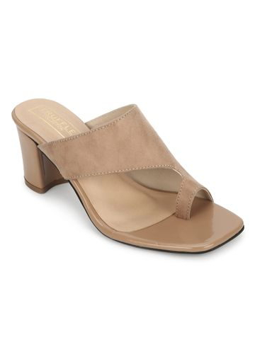 Truffle Collection   Beige Suede Square Toe Mules