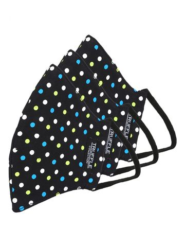 Truffle Collection | Black Polka Dotted Cotton Unisex Pack of 3 Reusable 3-Layer Outdoor Masks
