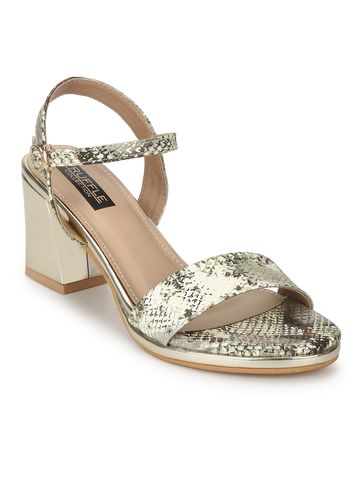 Truffle Collection | Gold PU Snake Pattern Sandals