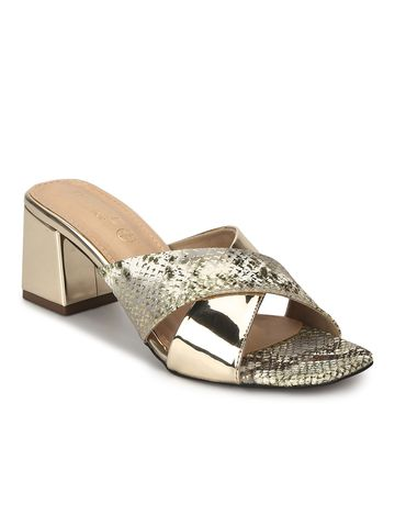Truffle Collection | Gold PU Snake Pattern Crossover Mules